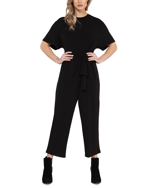 Black Tape Knot-Front Culotte Jumpsuit, in Regular & Petite