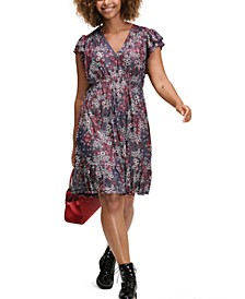Plus Size Mixed-Print Flutter-Sleeve Dress