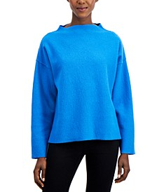 Solid Mock-Neck Dropped-Shoulder Sweater