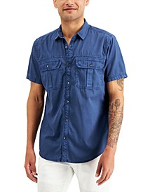 INC Men's Worn Denim Short Sleeve Shirt, Created for Macy's