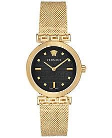 Women's Swiss Meander Gold Ion Plated Stainless Steel Mesh Bracelet Watch 34mm