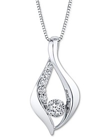 "Diamond 18"" Pendant Necklace (1/4 ct. t.w.) in 10k White Gold"