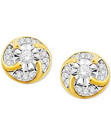 Diamond Cluster Stud Earrings (1/4 ct. t.w.) in 10k Gold