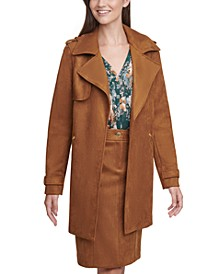 Faux-Suede Trench Coat