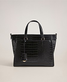 Croc-Effect Shopper Bag