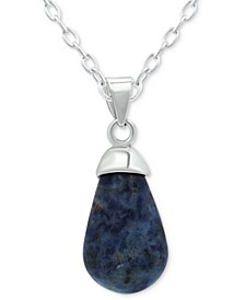 """Sodalite 18"""" Pendant Necklace in Sterling Silver (Also Red Jasper & Onyx), Created for Macy's"""