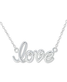 "Love Script 18"" Pendant Necklace in Sterling Silver, Created for Macy's"
