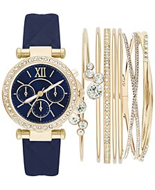 Women's Navy Polyurethane Strap Watch 36mm Gift Set