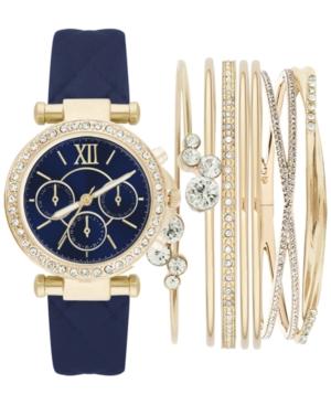 Women's Navy Polyurethane Strap Watch 36mm Gift Set