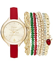Women's Red Polyurethane Strap Watch 40mm Gift Set