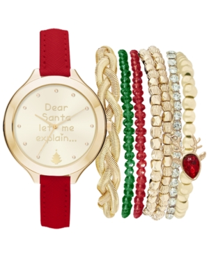 Women's Red Polyurethane Strap Watch 40mm Gift Set