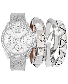 Women's Gunmetal-Gray Polyurethane Strap Watch 38mm, Gift Set