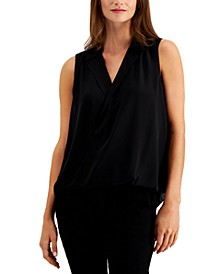 Petite Sleeveless Surplice-Neck Blouse, Created for Macy's
