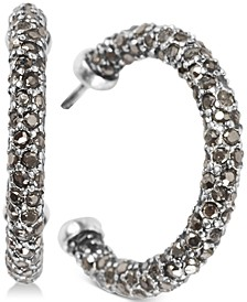 Silver-Tone Small Colored Pavé C-Hoop Earrings, 1""