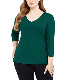 INC Plus Size Ribbed V-Neck Top, Created for Macy's
