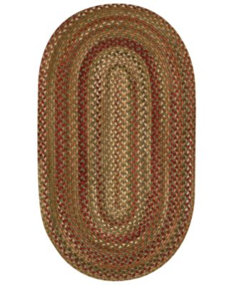 Area Rug, Homecoming Oval Braid 0048-200 Evergreen 3' x 5'