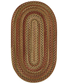 Capel Area Rug, Homecoming Oval Braid 0048-200 Evergreen 7' x 9'