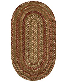 Capel Area Rug, Homecoming Oval Braid 0048-200 Evergreen 8' x 11'