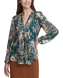 Floral-Print Pleated V-Neck Blouse