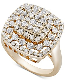 Cushion Cluster Statement Ring (1 ct. t.w.) in 14k Gold, Created for Macy's