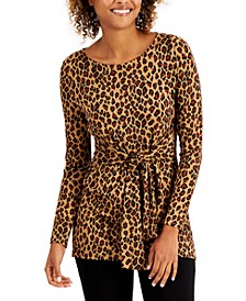 Leopard-Print Tie Top, Created for Macy's