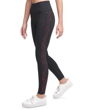 Calvin Klein Performance Rhinestone-embellished High-waist Leggings In Pld Salsa