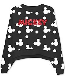 Sequin-Embellished Mickey Mouse Print Sweatshirt