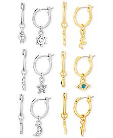 Two-Tone 6-Pc. Set Crystal Charm Huggie Hoop Earrings