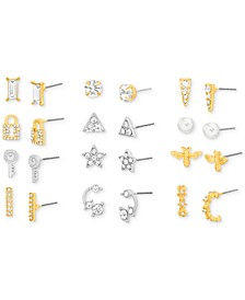 Two-Tone 12-Pc. Set Crystal & Imitation Pearl Assorted Earrings