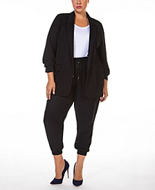 Plus Size Ruched-Sleeve Open-Front Blazer