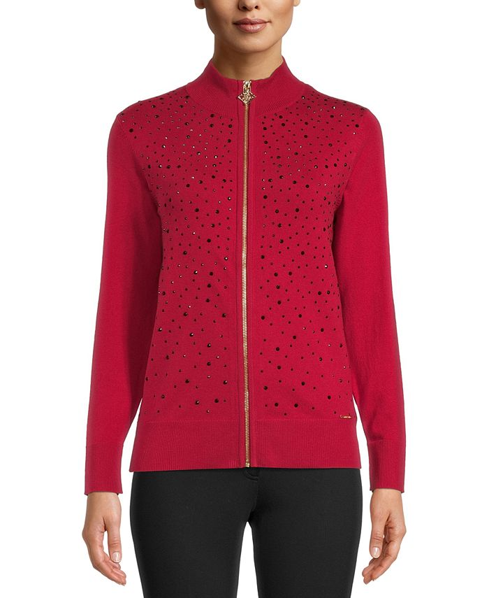 Anne Klein - Jeweled Zipper Sweater