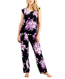 Printed Lace-Trim Pajamas Set, Created for Macy's