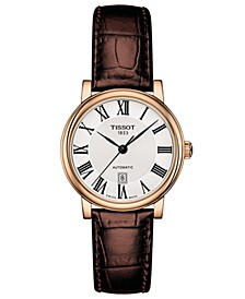 Women's Swiss Automatic Carson Premium Lady Brown Leather Strap Watch 30mm