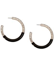 "Black-Tone Large Lucite Glitter Hoop Earrings, 2.5"", Created for Macy's"