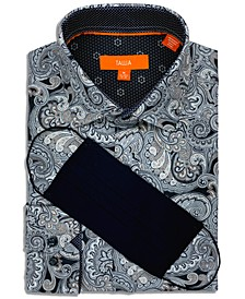Men's Slim-Fit 4-Way Performance Stretch Paisley-Print Dress Shirt with Pleated Face Mask