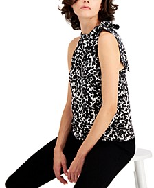 INC Printed Satin Bow Top, Created for Macy's
