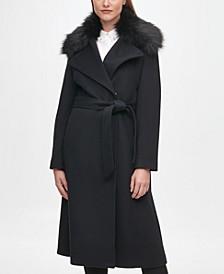 Women's Faux Fur Collar Belted Wrap Coat