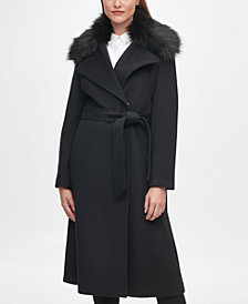 Karl Lagerfeld Paris Women's Faux Fur Collar Belted Wrap Coat
