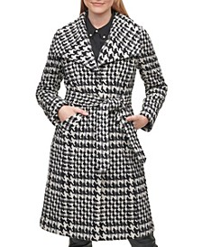 Houndstooth Women's Single-Breasted Belted Coat