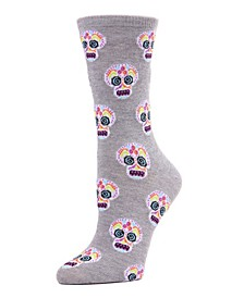 Women's Sugar Skull Halloween Crew Socks