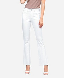 Women's High Rise Double Waistband Raw Hem Flare Jeans