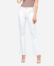 VERVET Women's High Rise Double Waistband Raw Hem Flare Jeans
