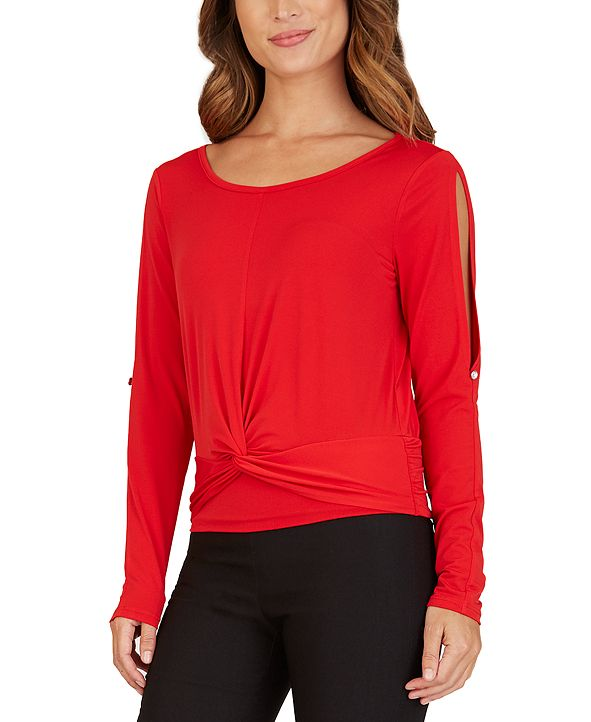 BCX Juniors' Split-Sleeve Top