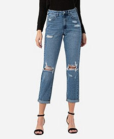 Women's Distressed Rolled Up Mom Jeans