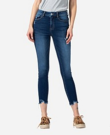 Women's High Rise Distressed Raw Hem Skinny Crop Jeans