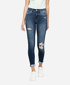 Women's High Rise Distressed Roll Up Skinny Crop Jeans
