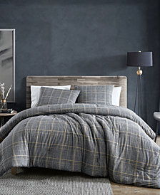 Kenneth Cole New York Sussex Brushed Cotton Flannel Duvet Cover Set, Twin