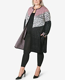 Women's Plus Size Sweater Knit Coatigan