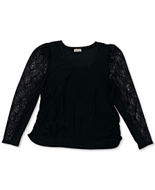 Trendy Plus Size Lace Puff-Sleeve Top