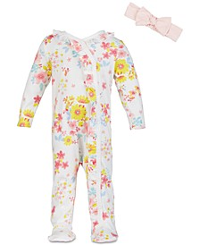 Baby Girls Watercolor Floral-Print Cotton Coverall Set, Created for Macy's